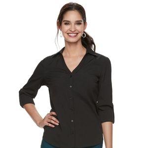 Women's Elle Solid Roll-Tab Shirt Black XL Buttons
